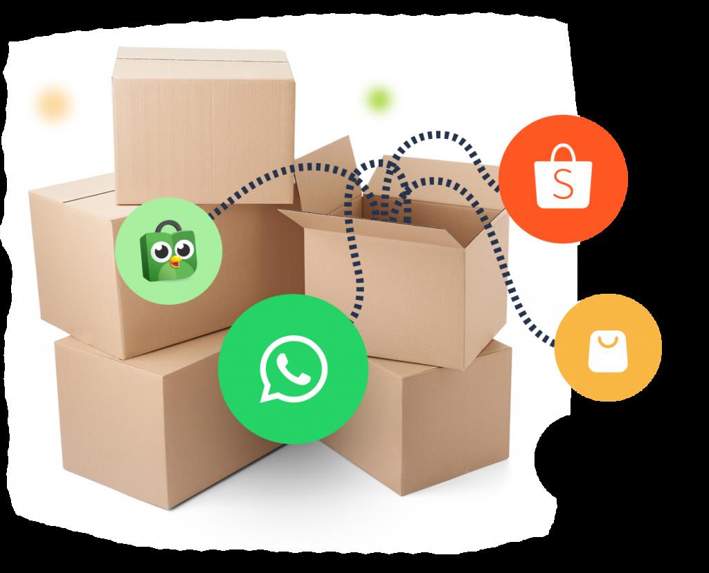 Hubungkan penjualan dan jangkau ribuan pelanggan baru dari aplikasi WhatsApp serta berbagai marketplace e-commerce besar di Indonesia.